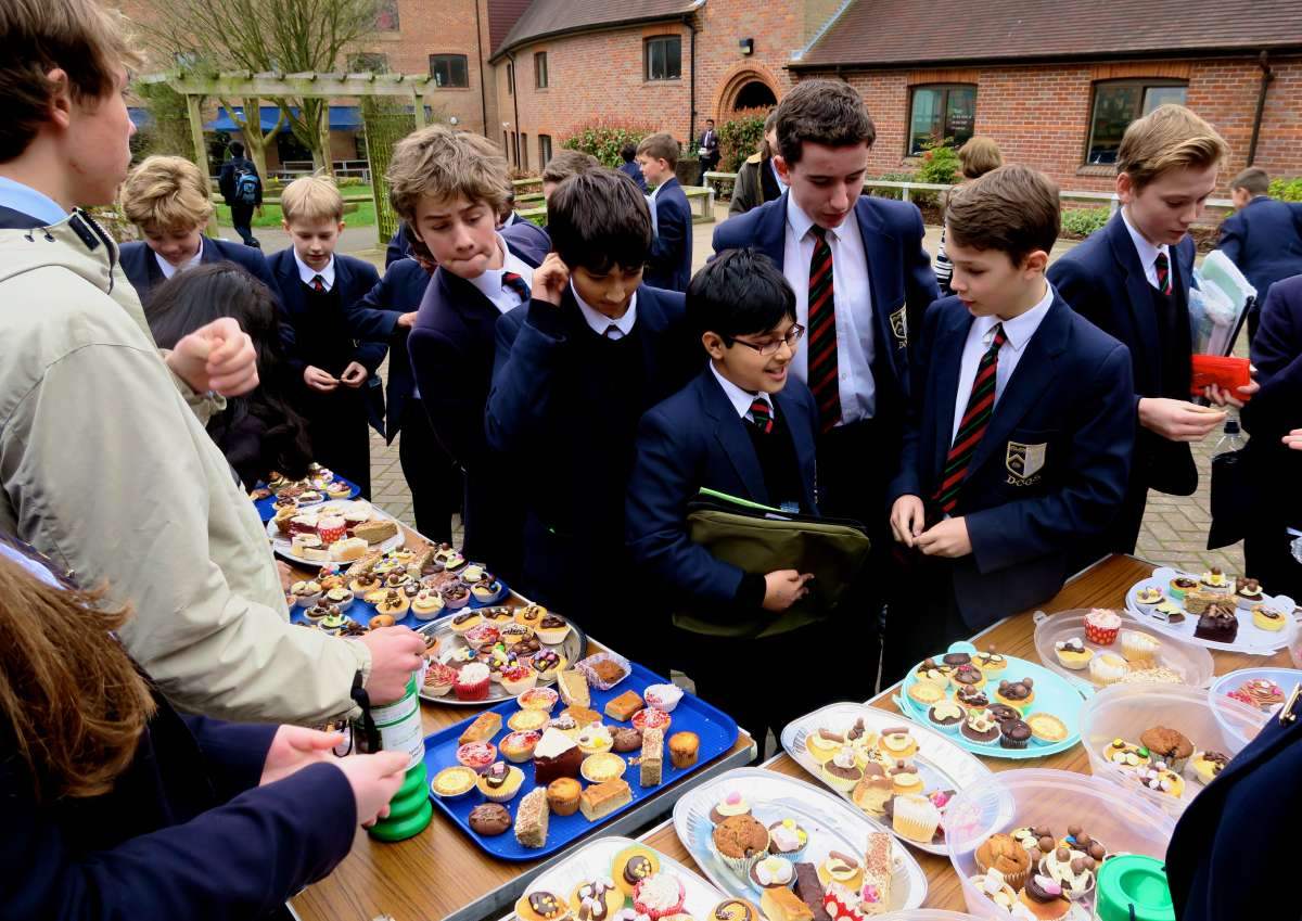 Students rushed from their lessons to buy cakes