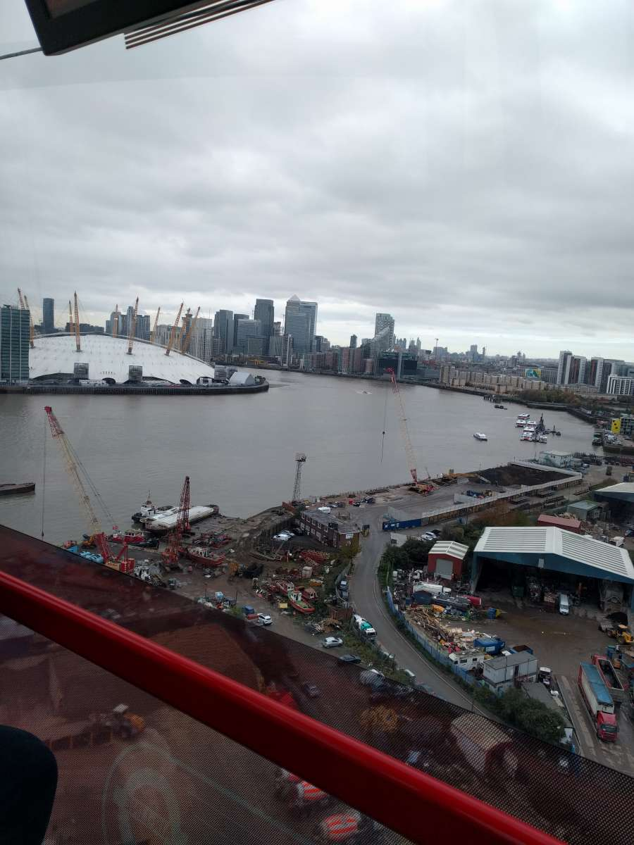 The view of the O2 arena and more from the Emirates Air Line